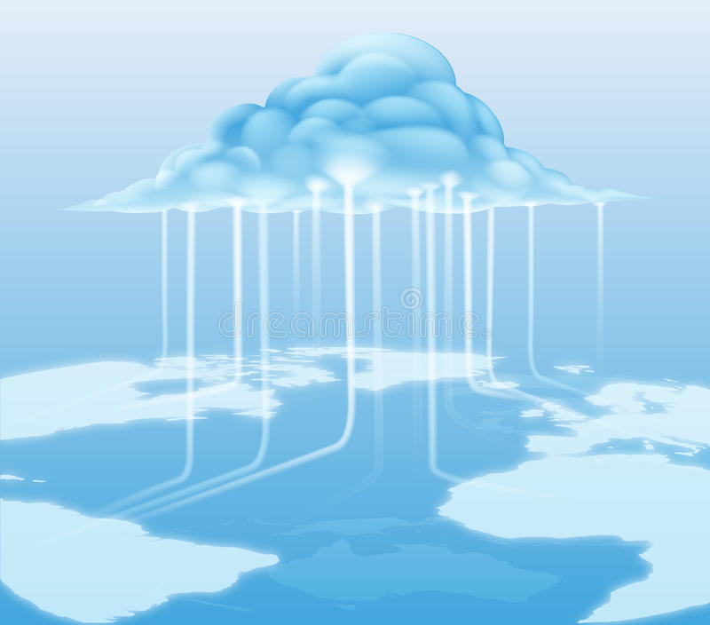 Cloud computer internet concept. A cloud computing internet concept with information flowing to and from the cloud stock illustration