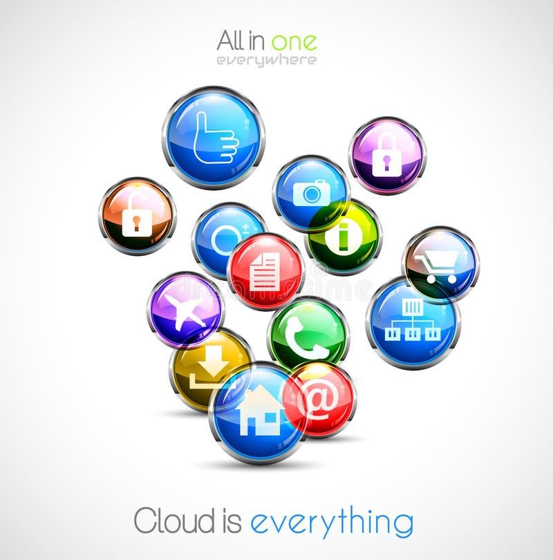 Cloud computin concept background vector illustration