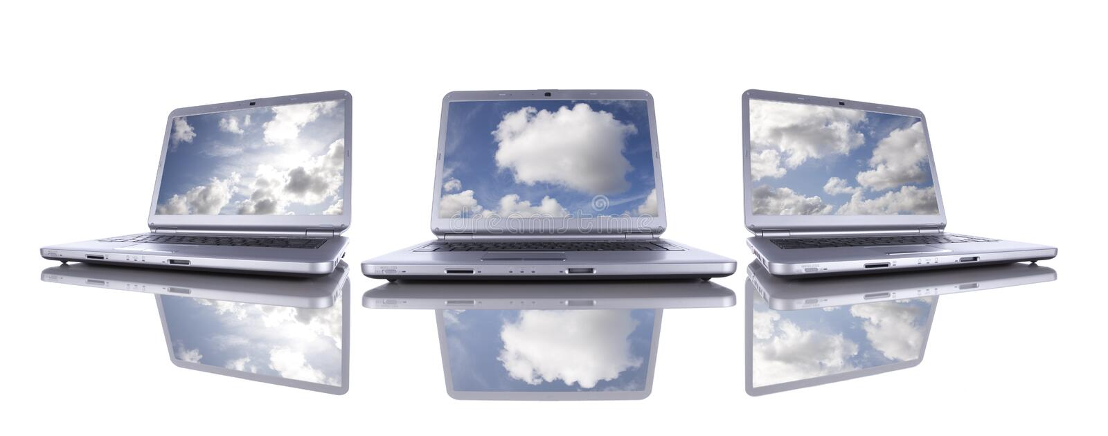 Cloud Computing. Concept in three modern laptop isolated on white