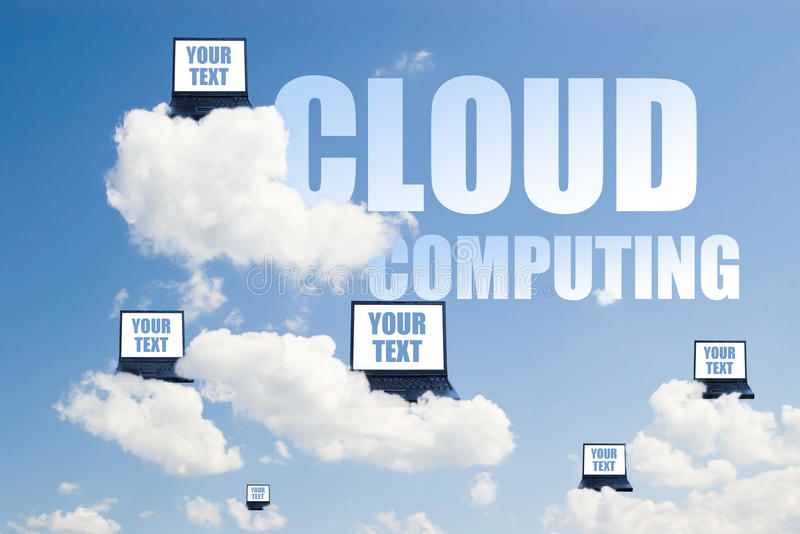 Cloud computing. Concept of cloud computing with laptops on clouds royalty free stock photography