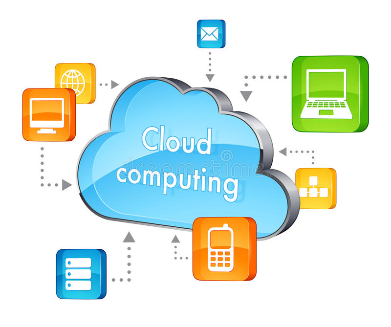 Cloud computing. Icon isolated on white royalty free illustration