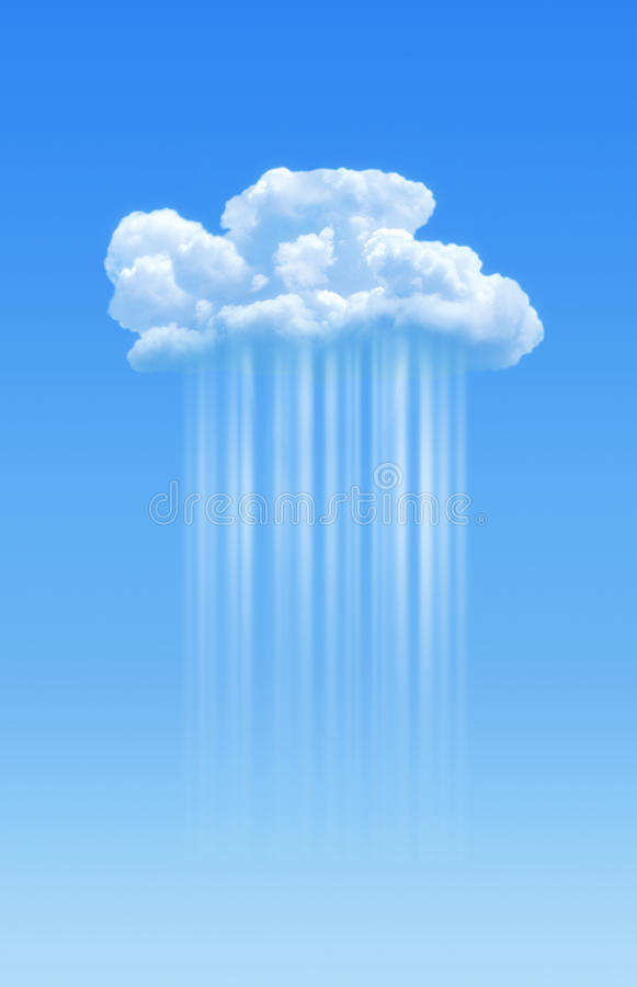 Cloud computing. Cloud in blue sky with lines descending. Cloud computing concept royalty free stock photos