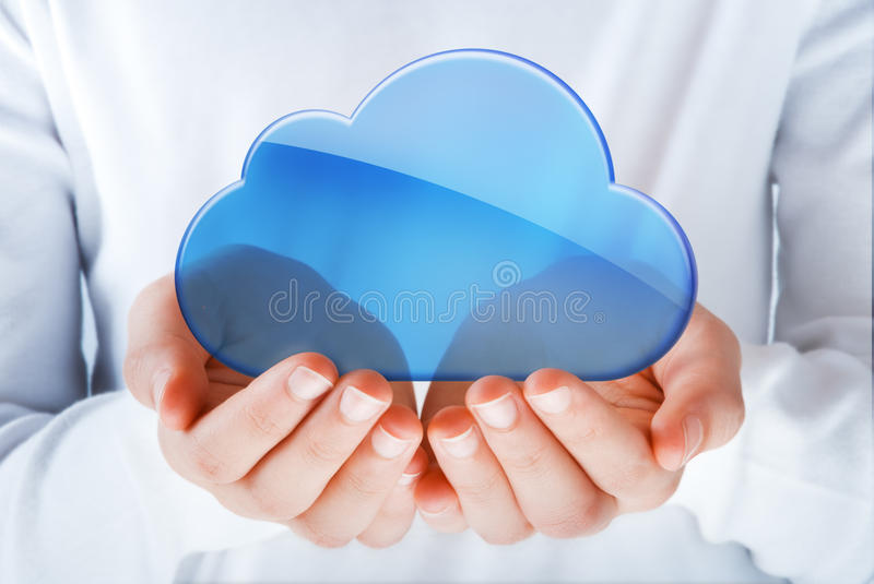 Cloud computing. Hands exhibiting the cloud computing symbol
