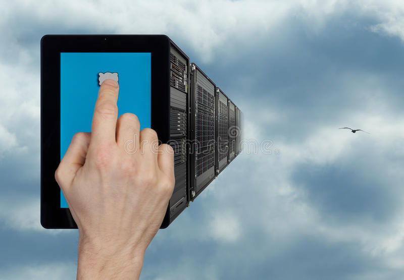 Cloud computing. This work visualizes the concept of cloud computing - when low-power computing devices (like the tablet shown on this photo) can make use of the stock photos