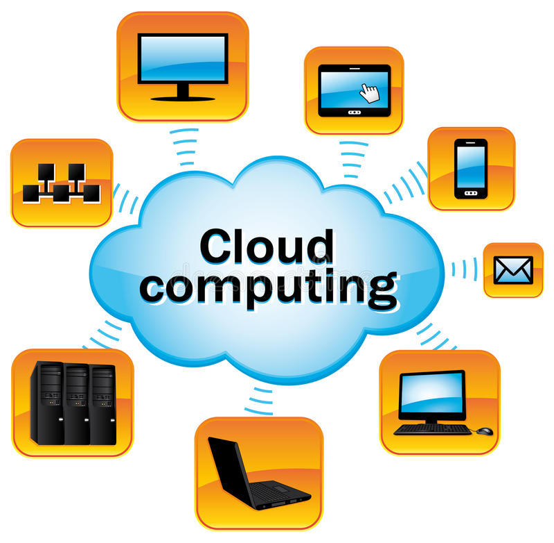 Cloud computing. stock illustration