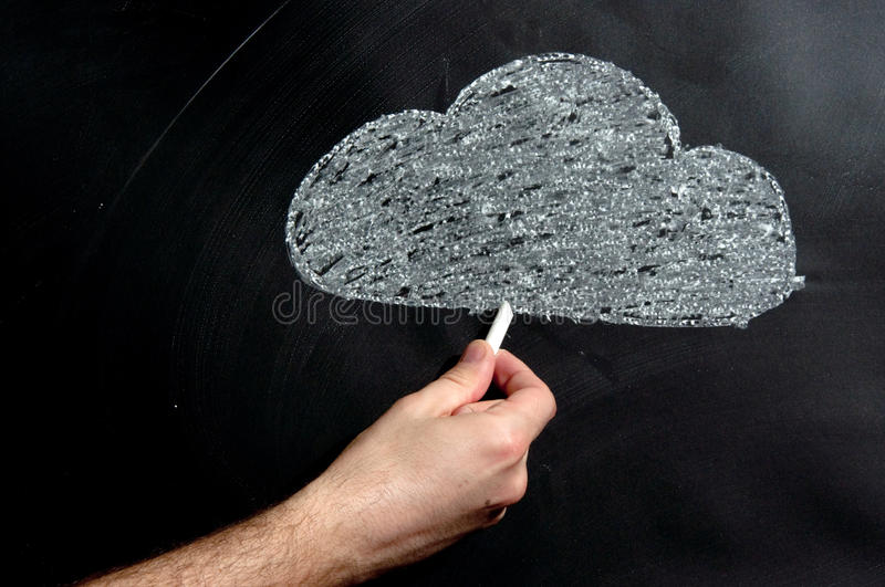 Cloud computing. Graphic scheme drawn with a chalk on a black board stock image