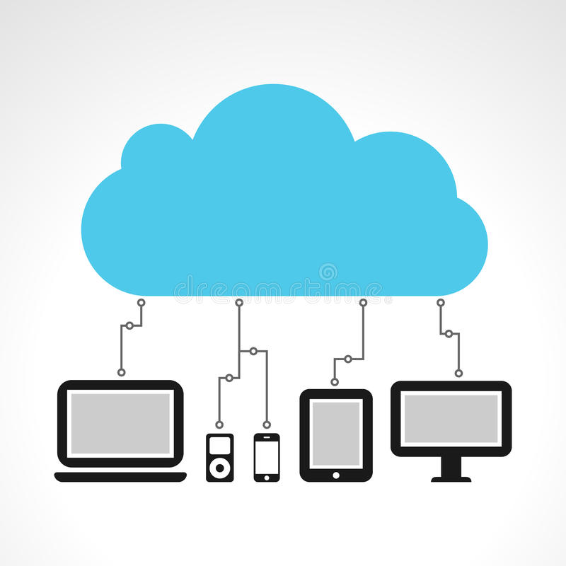 Cloud computing. Concept with multiple devices