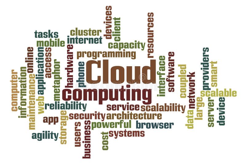 Cloud Computing. Word Cloud Computing on white background stock illustration