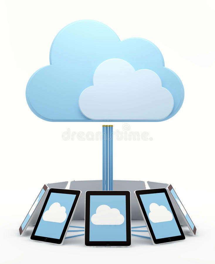 Cloud computing. Concept. Circular aligned tablet screens connected to virtual cloud royalty free illustration