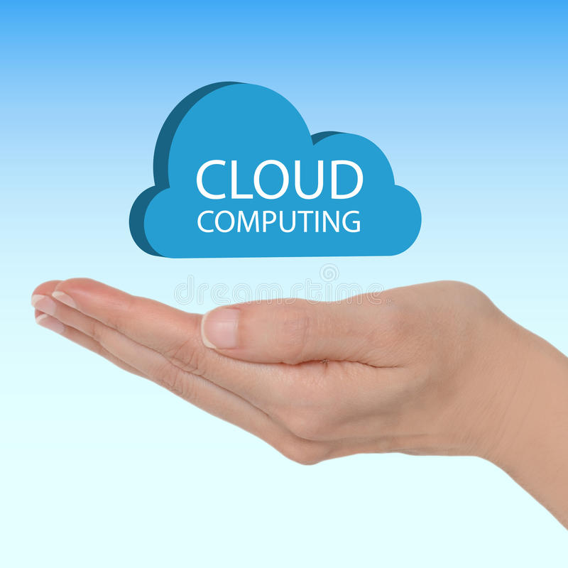 Cloud computing. Female hand with a blue cloud and text cloud computing