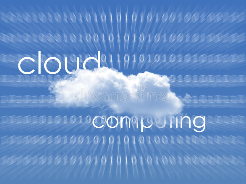 Cloud computing. A white cloud on blue background which shows streaming of data from cloud