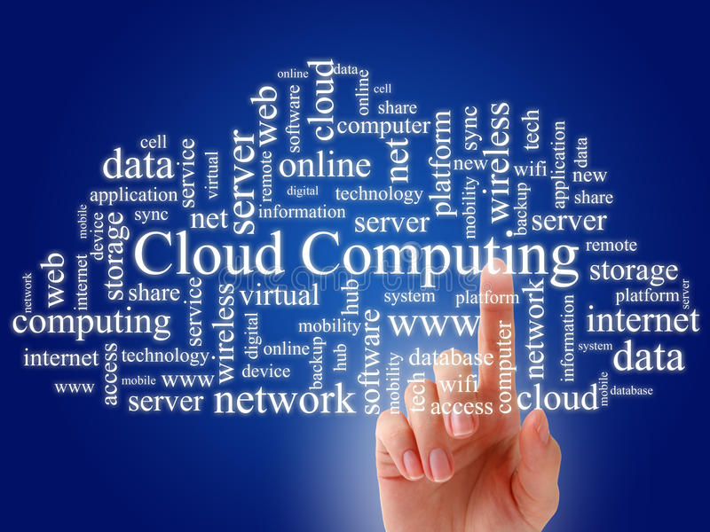 Cloud computing. Cloud computing concept. Photo collage