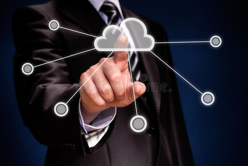 Cloud computing. Futuristic display: Cloud computing touchscreen interface stock images