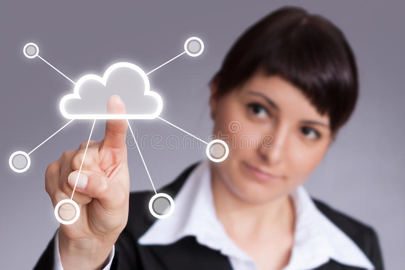 Cloud computing. Futuristic display: Cloud computing touchscreen interface royalty free stock photography