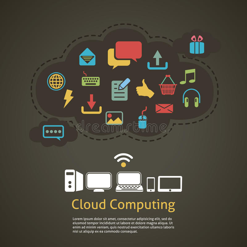 Cloud computing abstract background vector illustration