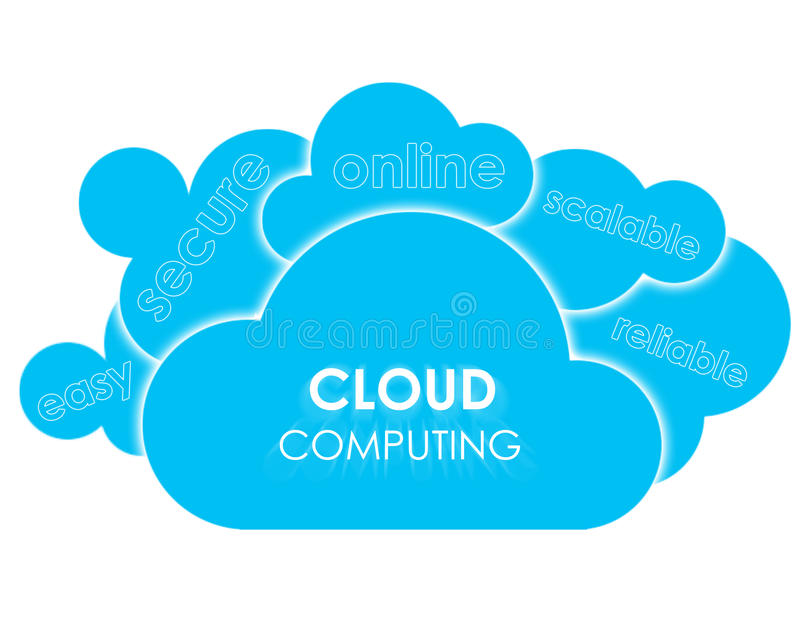 Cloud computing advantages. Concept of cloud computing with 6 clouds presenting main advantages of using that technology vector illustration