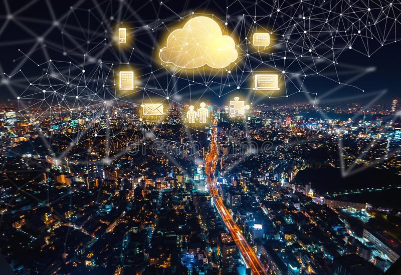Cloud Computing with aerial view of Tokyo, Japan stock images