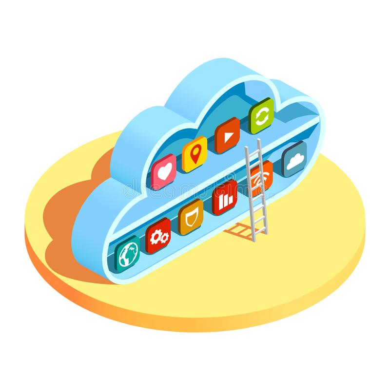 Cloud Computing Apps Isometric Composition. Cloud computing services resources access infrastructure isometric composition with ladder leading to application stock illustration