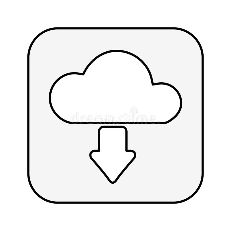 Cloud computing with arrow download isolated icon royalty free illustration