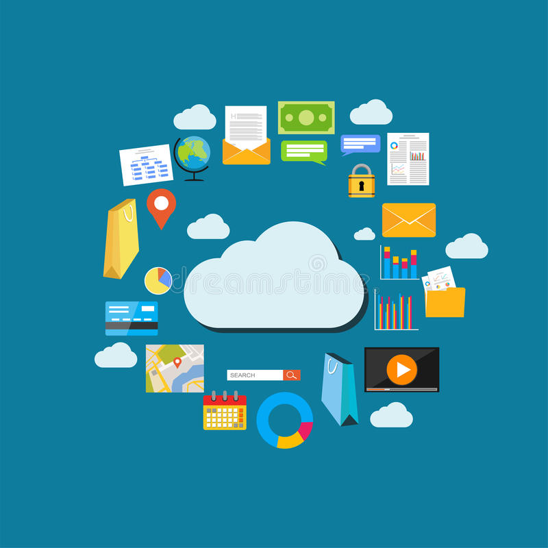 Cloud computing background. Data storage network technology. Multimedia content , web sites hosting. Internet contents concept stock illustration
