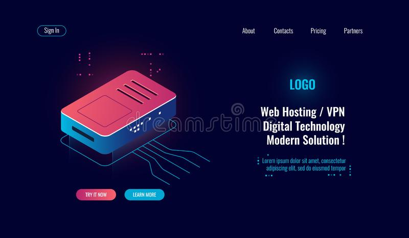 Cloud computing and big digital data processing isometric icon, router internet splitter, online web hosting concept, wi royalty free illustration