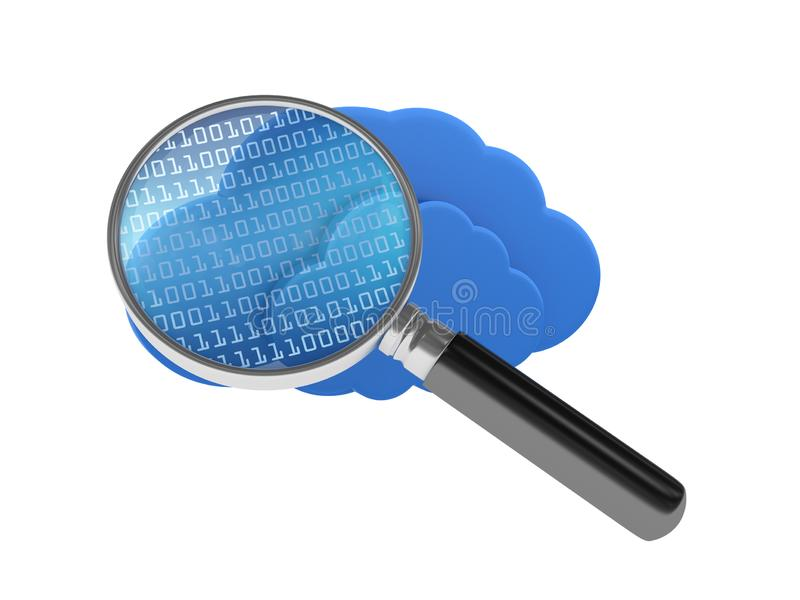 Cloud Computing with Binary Code and Magnifying Glass royalty free illustration