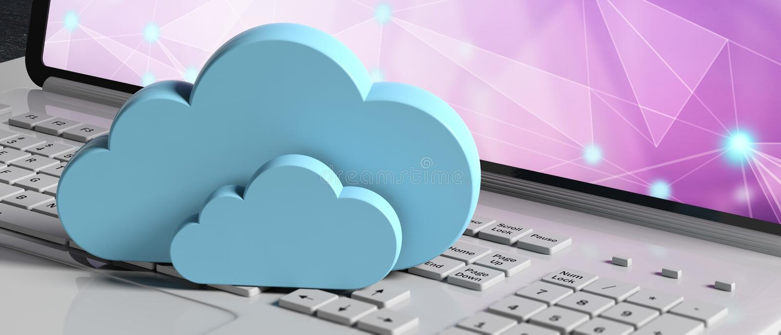 Cloud computing. Blue clouds on a computer laptop, banner. 3d illustration royalty free illustration