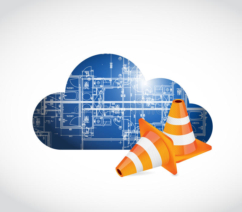 Cloud computing blueprint and cones. Illustration design over a white background stock illustration