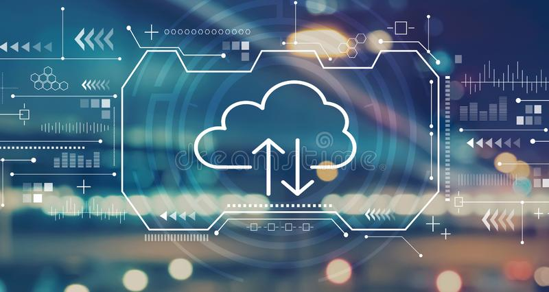 Cloud computing with blurred city lights. Cloud computing with blurred city abstract lights background royalty free illustration