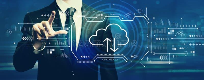Cloud computing with businessman stock image
