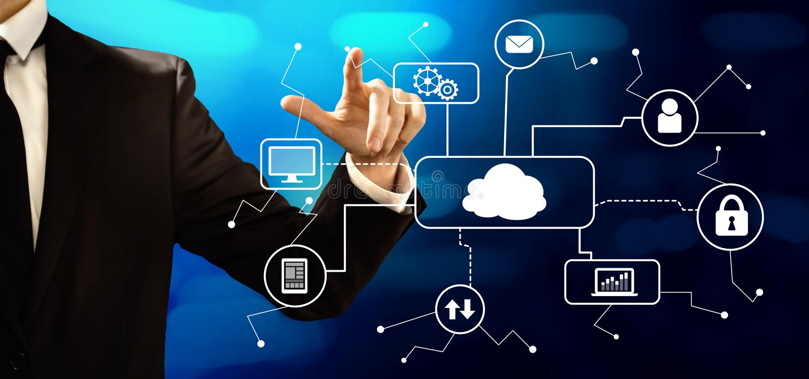 Cloud computing with businessman. On a dark blue background stock photography