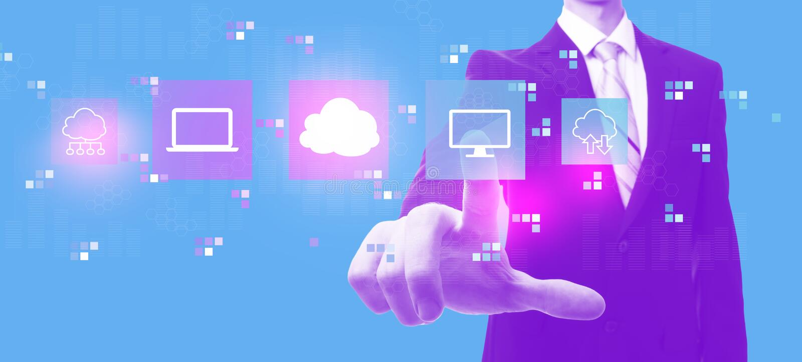 Cloud computing with businessman in duotone royalty free illustration