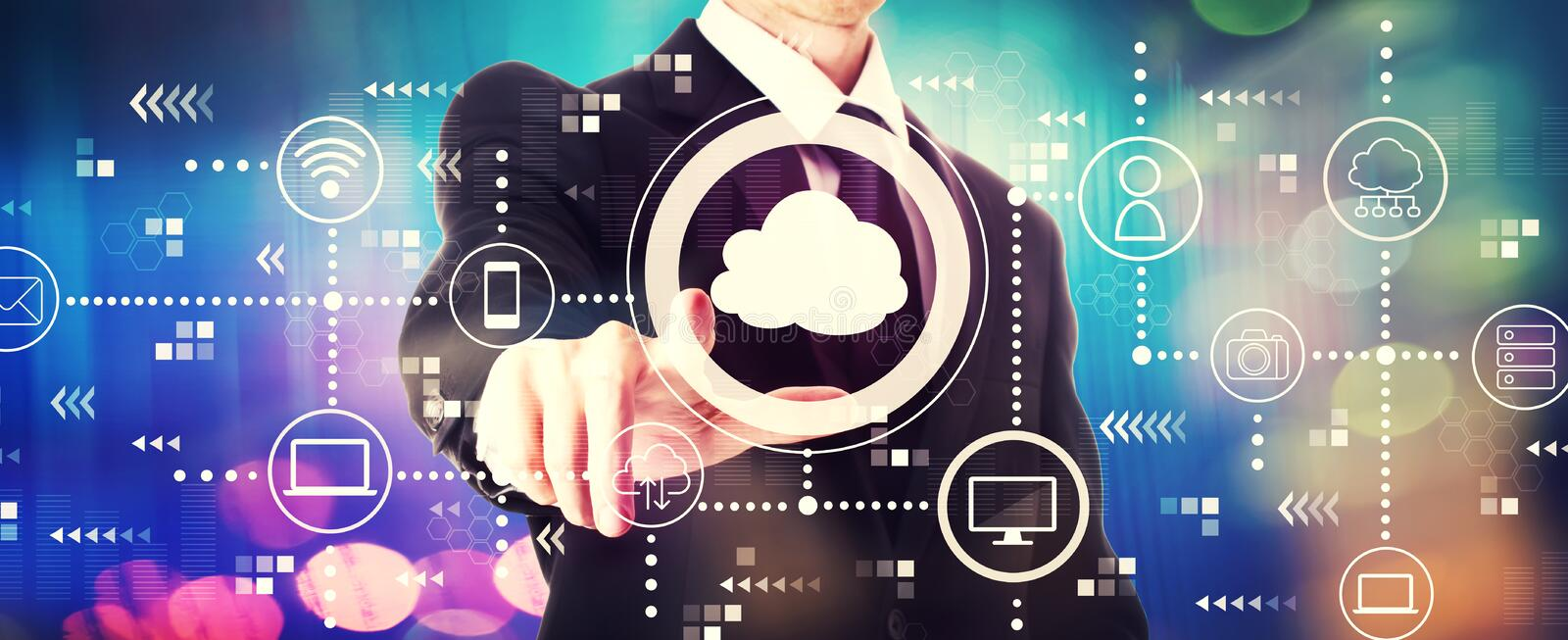 Cloud computing with a businessman. On a shiny background royalty free stock photos
