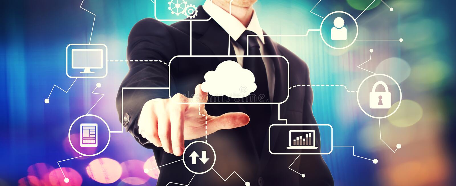 Cloud computing with a businessman. On a shiny background stock photos