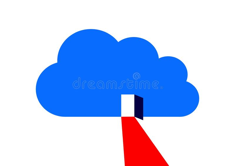 Cloud computing circuit, The door to the cloud, the way to technologies vector illustration