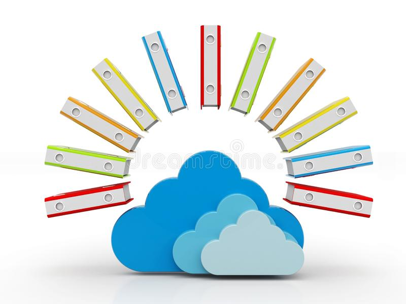 Cloud Computing, Cloud Storage Concept. 3D render isolated on white background royalty free stock images