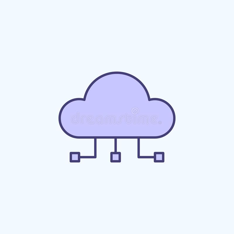 cloud computing 2 colored line icon. Simple colored element illustration. cloud computing outline symbol design from new stock illustration