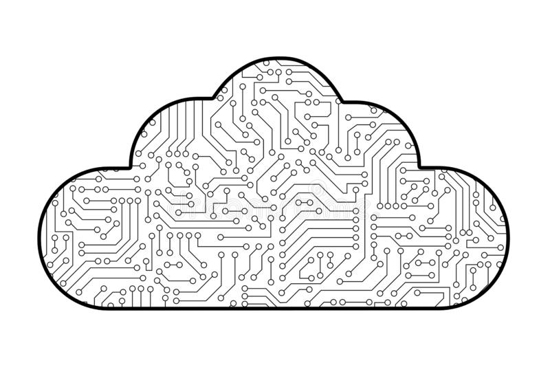 Cloud computing computer technology icon with circuit board pattern texture isolated on white. High-tech background in digital da vector illustration
