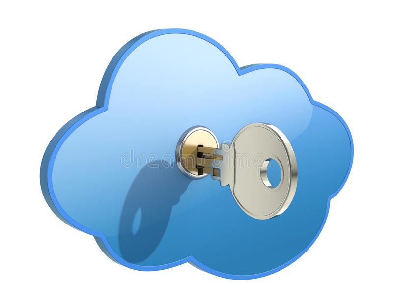 Cloud computing concept. Cloud computing security concept with cloud and the key