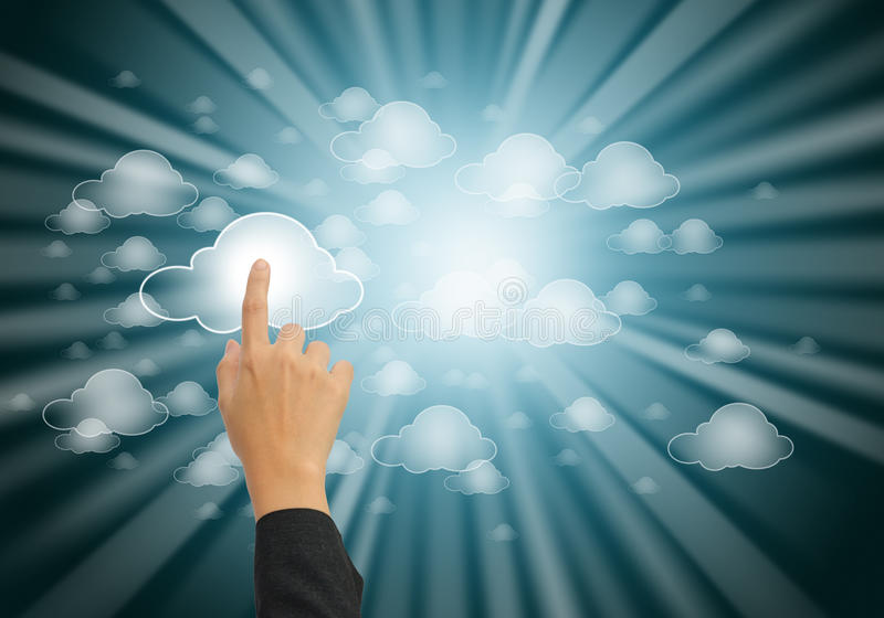 Cloud computing concept. Hand pushing the cloud computing button stock photos