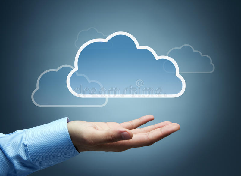 Cloud computing concept. Digital cloud with copy space floating over human hand