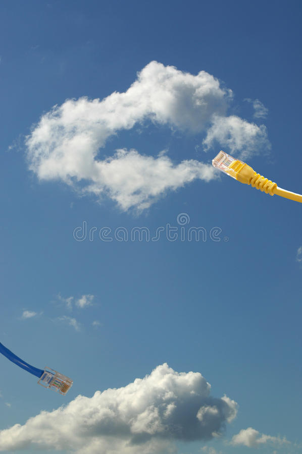 Cloud computing concept. Ethernet cable connecting into cloud stock images