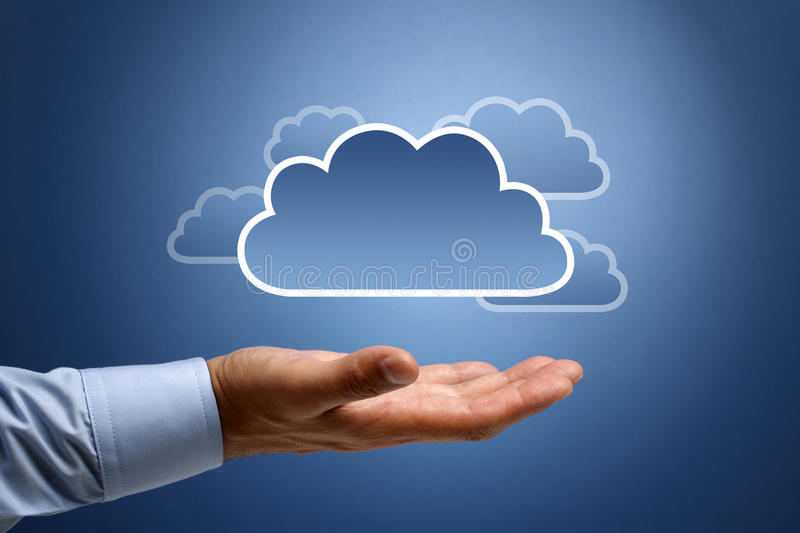 Cloud computing concept. Busnessman hand connecting to the cloud
