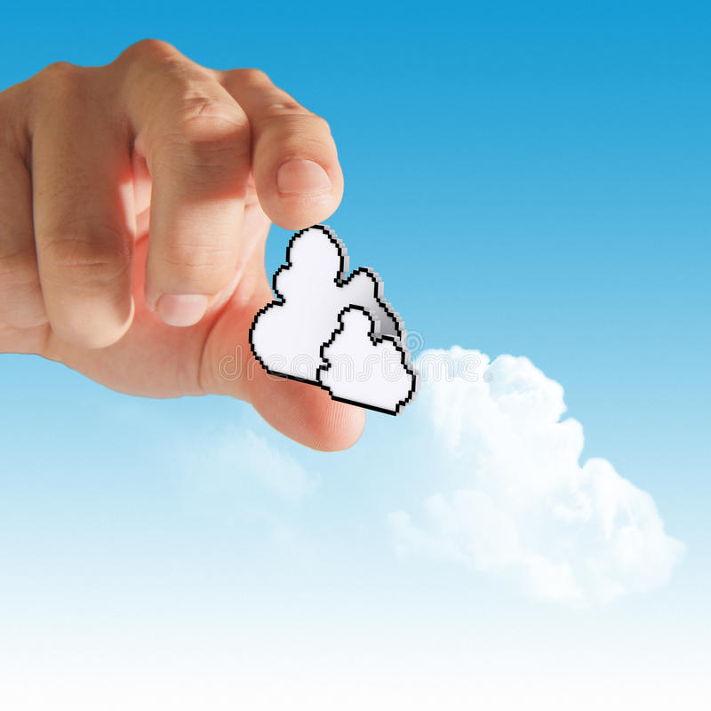 Cloud computing concept. Businessman hand with cloud computing concep stock images