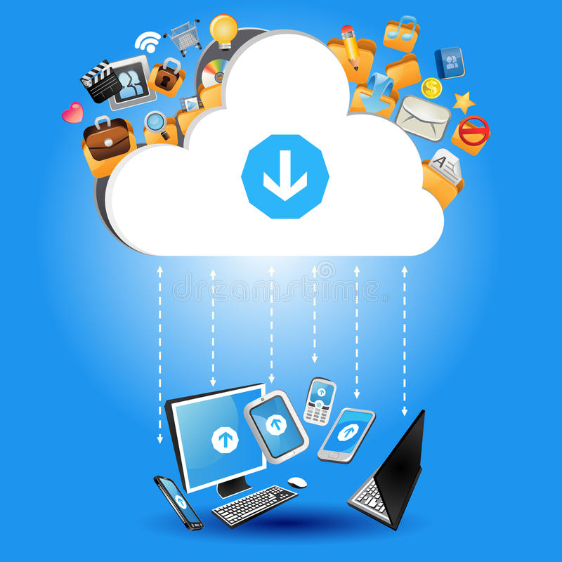 Cloud Computing Concept. An Illustration of Cloud Computing Concept. Useful As Icon, Illustration And Background For Internet Theme royalty free illustration