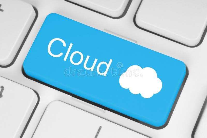 Cloud computing concept. On computer keyboard stock photo