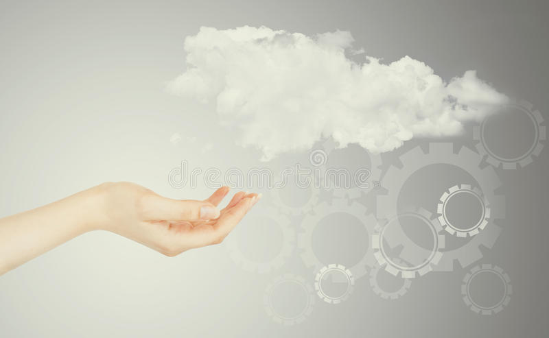 Cloud computing concept. World wide data sharing and communication royalty free stock image