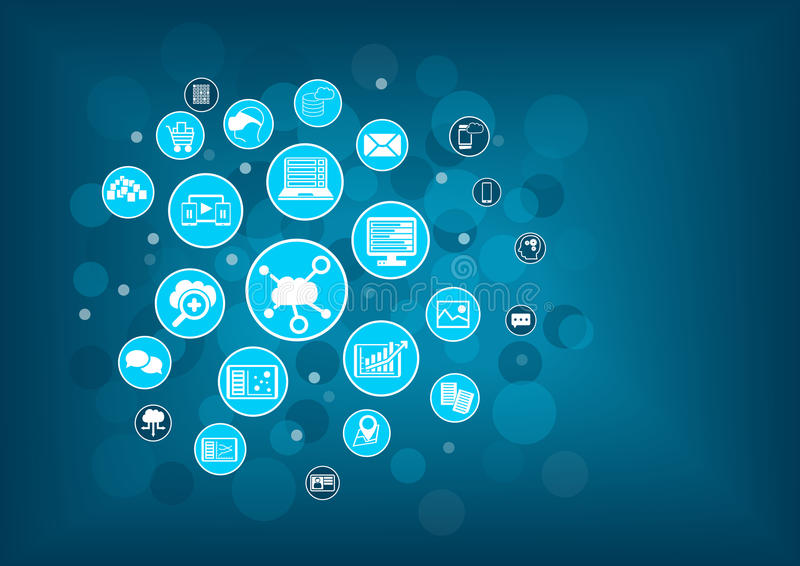 Cloud computing concept as illustration. Blurred information technology background with icons stock illustration
