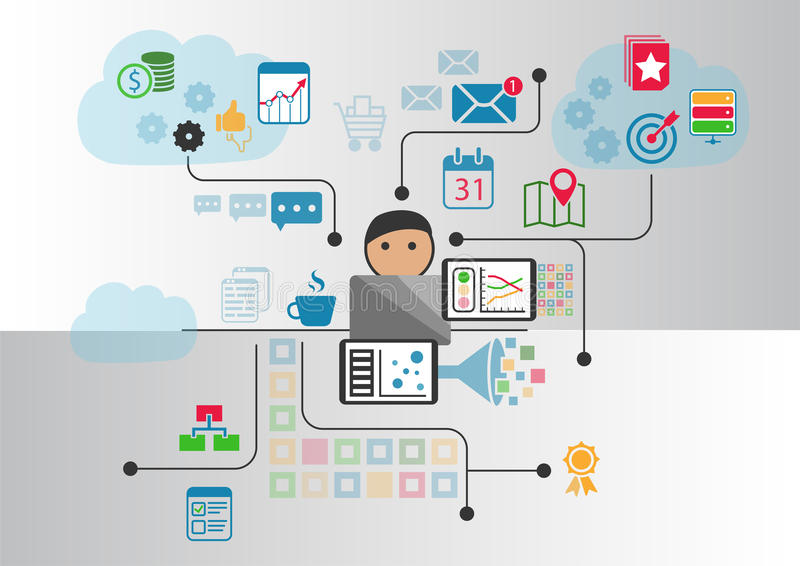 Cloud computing concept as illustration. Cartoon person connected to the cloud via notebook and other smart devices vector illustration
