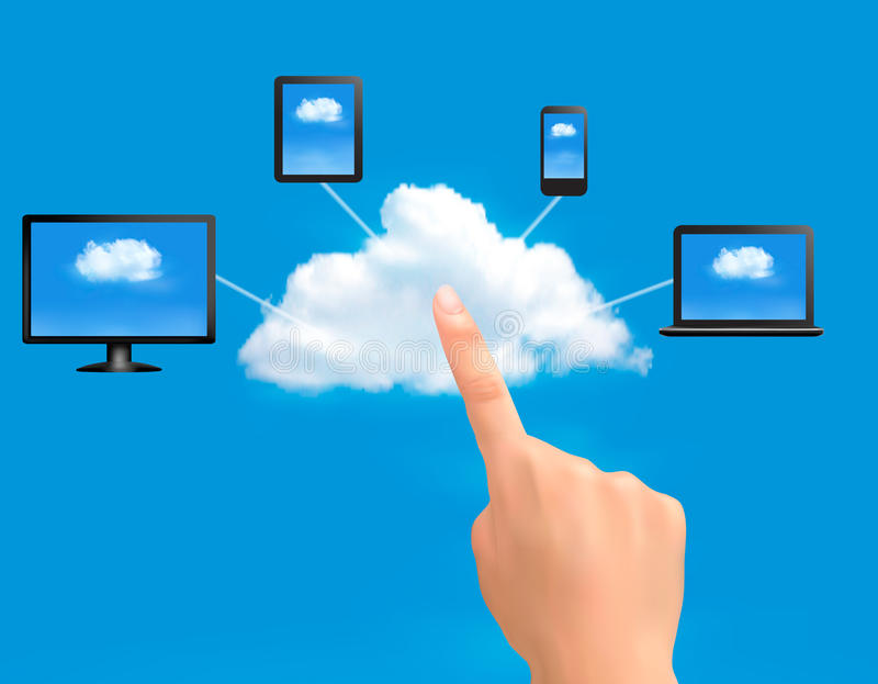 Download Cloud Computing Concept Background With Hand. Royalty Free Stock Photography - Image: 34050347